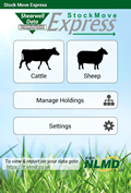 Stock Move Express Android sheep or cattle main menu